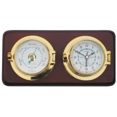 Meridian Zero Channel Brass Tide Clock and Barometer Set